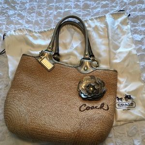 Coach Bleeker straw/ leather bag